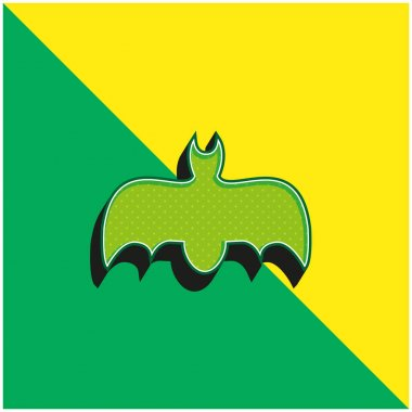 Bat With Open Wings Green and yellow modern 3d vector icon logo stock vector
