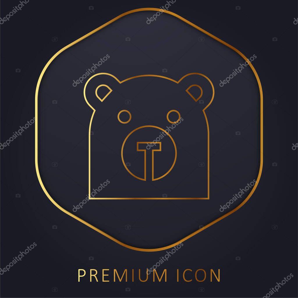 Bear golden line premium logo or icon stock vector