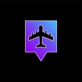 Letiště Pin modrý gradient vektorová ikona
