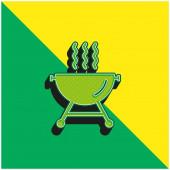 Grilování s kouřem Zelená a žlutá moderní 3D vektorové logo ikony