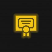 Ocenění žlutá zářící neonová ikona