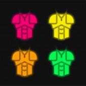 Rüstung vier Farben leuchtenden Neon-Vektor-Symbol