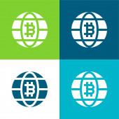 Bitcoin lapos négy szín minimális ikon készlet