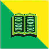 Book Opened Symbol Green and yellow modern 3d vector icon logo