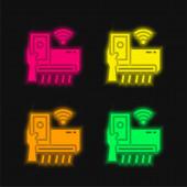 Klimaanlage vier Farben leuchtenden Neon-Vektorsymbol