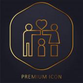 Adopce zlatá čára prémie logo nebo ikona