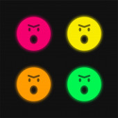 Dühös Emoticon Face nyitott szájú kerek tér vázlat négy szín izzó neon vektor ikon