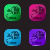360 fokos négyszínű üveg gomb ikon