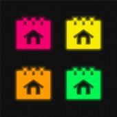 Buchung von leuchtenden Neon-Vektorsymbolen in vier Farben