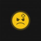 Rozzlobená žlutá zářící neonová ikona