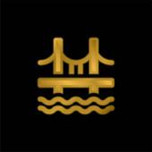 Mostní pozlacená kovová ikona nebo vektor loga