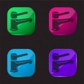 Fürdőszoba csapoló eszköz ellenőrzésére vízellátás négy színű üveg gomb ikon