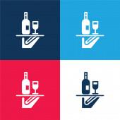 Bar Service modrá a červená čtyři barvy minimální ikona nastavena