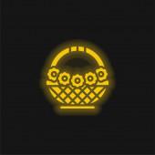 Košík žlutá zářící neonová ikona