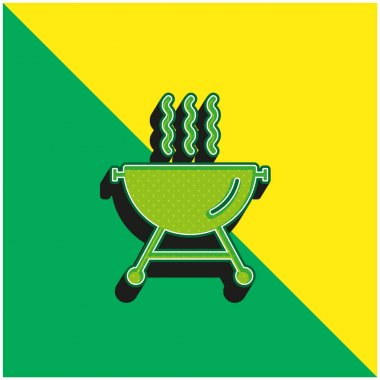 Barbecue With Smoke Green and yellow modern 3d vector icon logo stock vector