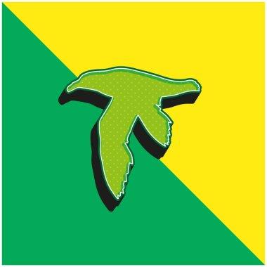 Bird Petrel Shape Green and yellow modern 3d vector icon logo stock vector