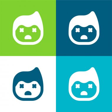 Boy Flat four color minimal icon set stock vector