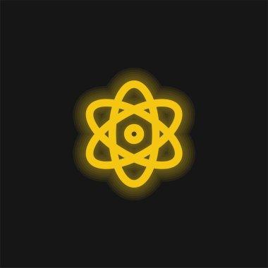 Atom Enerjisi sarı parlak neon simgesi