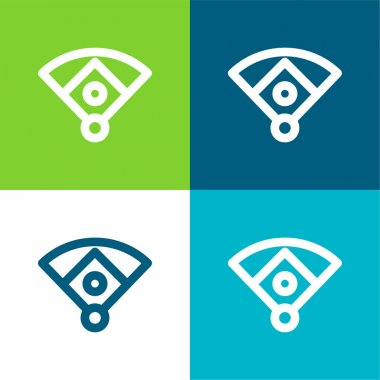Baseball Diamond Flat four color minimal icon set stock vector
