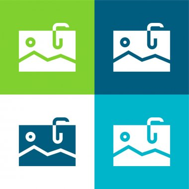 Attached Flat four color minimal icon set stock vector