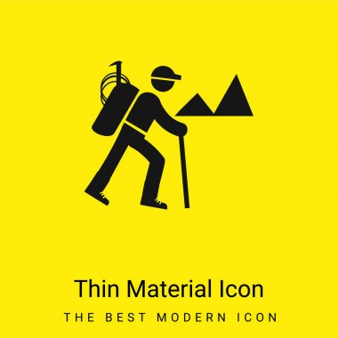 Backpacker Hiking minimal bright yellow material icon stock vector