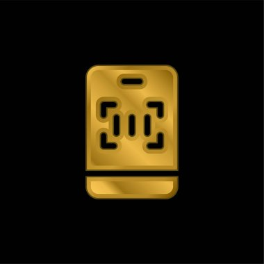 Barcode gold plated metalic icon or logo vector stock vector
