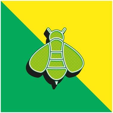 Bee Green and yellow modern 3d vector icon logo stock vector