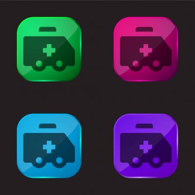 Ambulance four color glass button icon