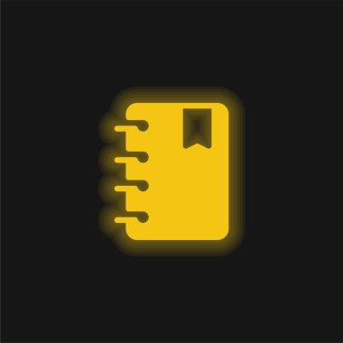 Agenda yellow glowing neon icon stock vector