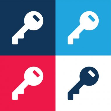 Access Key Filled Circular Tool blue and red four color minimal icon set stock vector
