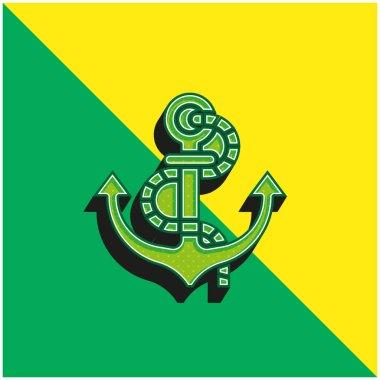 Anchor Green and yellow modern 3d vector icon logo stock vector