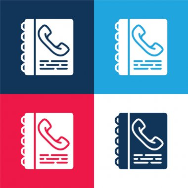 Agenda blue and red four color minimal icon set stock vector