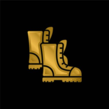 Boots gold plated metalic icon or logo vector stock vector