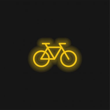 Bicycle Healthy Transport yellow glowing neon icon