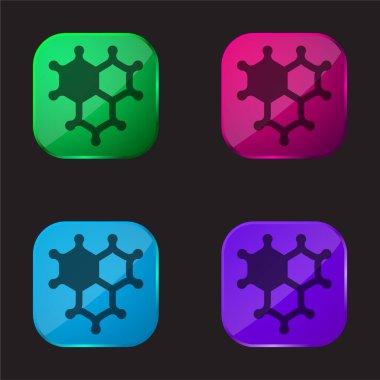 Bacteria four color glass button icon stock vector