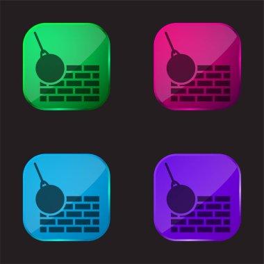 Bricks Wall And Demolition Ball four color glass button icon stock vector