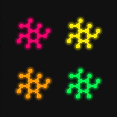 Biology Shape four color glowing neon vector icon stock vector