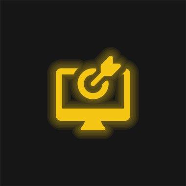 Arrow yellow glowing neon icon stock vector