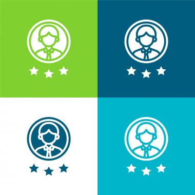 Best Employee Flat four color minimal icon set stock vector