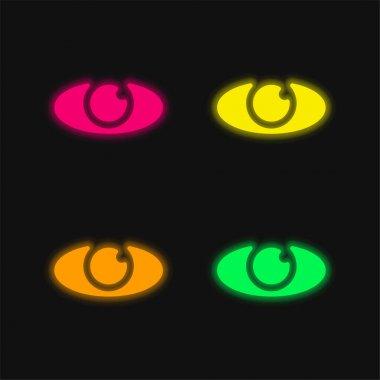 Big Eye four color glowing neon vector icon stock vector