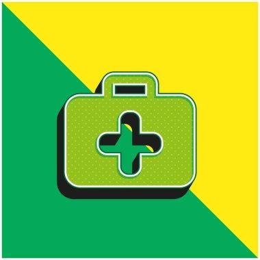 Briefcase Green and yellow modern 3d vector icon logo stock vector