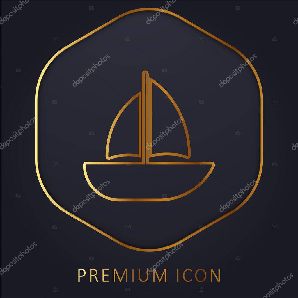 Barca linea dorata logo premium o icona