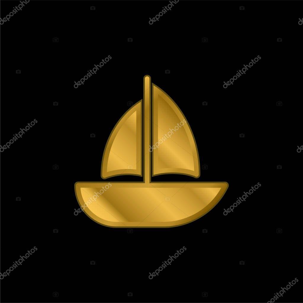 Barca placcato oro icona metallica o logo vettoriale