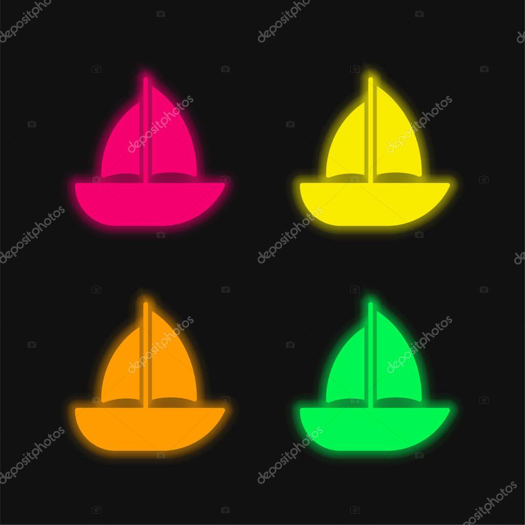 Barca quattro colori incandescente icona vettoriale al neon