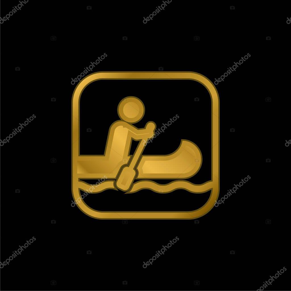 Nautica segno oro placcato icona metallica o logo vettoriale