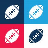 Amerikai futball kék és piros négy szín minimális ikon készlet
