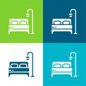 Ložní byt čtyři barvy minimální ikona nastavena