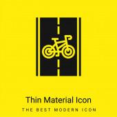 Cyklistická stezka minimální jasně žlutý materiál ikona
