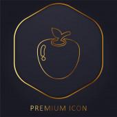 Apple zlatá čára prémie logo nebo ikona