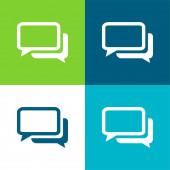 Black And White Chat Bubbles Flat čtyři barvy minimální ikona nastavena